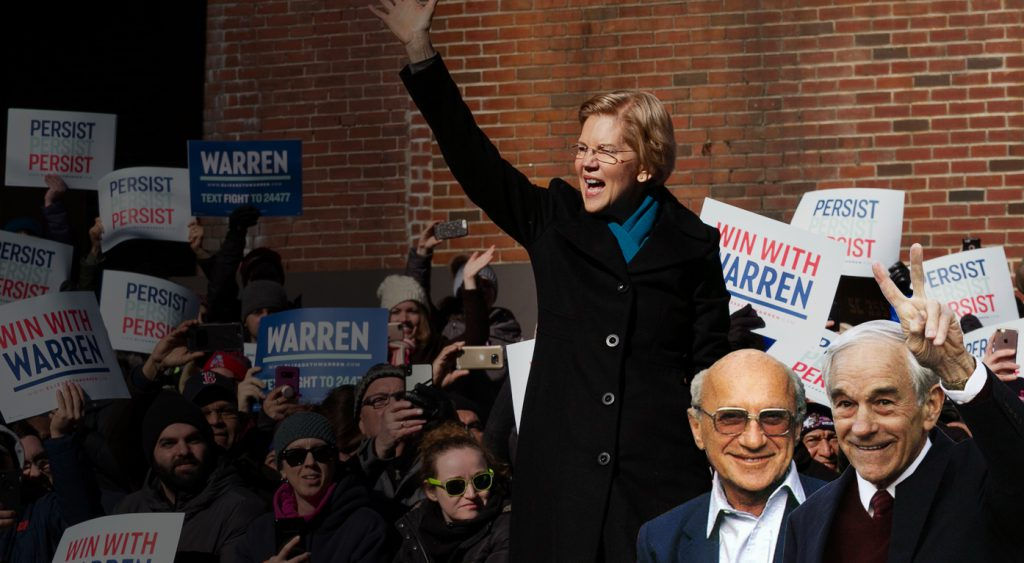 Milton Friedman and Ron Paul at Elizabeth Warren rally.